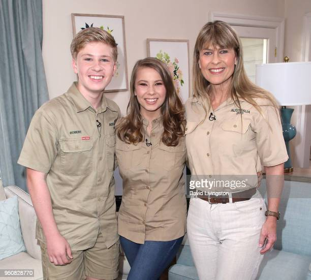 Conservationists/TV personalities Robert Irwin Bindi Irwin and Terri Irwin visit Hallmark's Home Family at Universal Studios Hollywood on April 24...