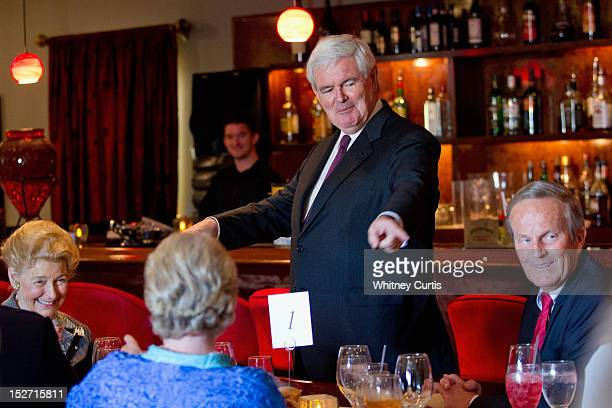 Conservative activist Phyllis Schlafly former Speaker of the House Newt Gingrich and US Rep Todd Akin attend a fundraiser for Akin on September 24...