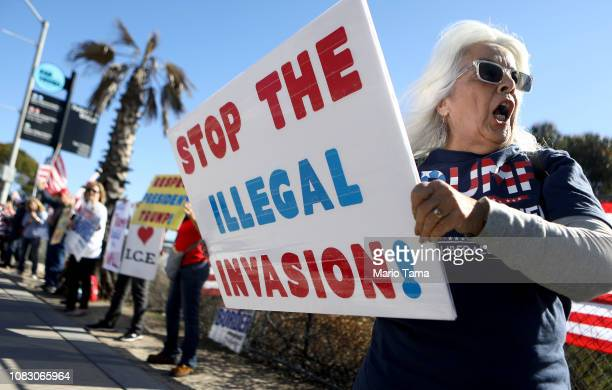 Conservative activists attend a rally for improved border security near the San Ysidro port of entry at the USMexico border on December 15 2018 in...