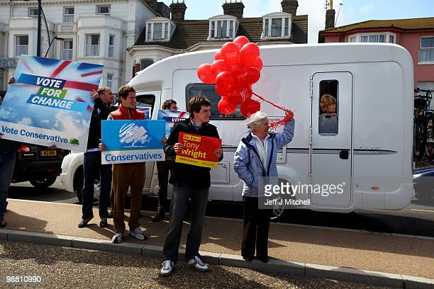 Conservative and Labour activists await the arrival of Prime Minister Gordon Brown on May 3 2010 in Great Yarmouth England The General Election to be...