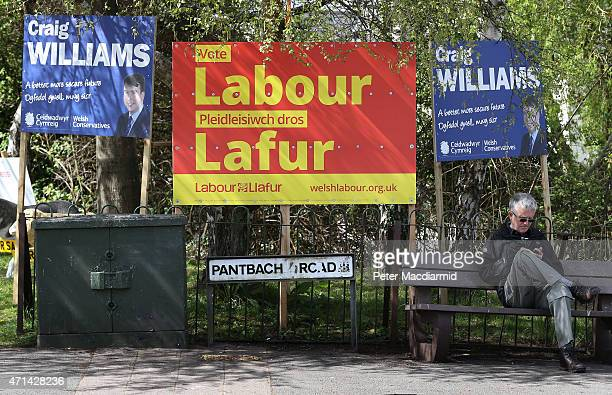 Conservative and Labour party election posters are erected by the side of the road on April 28 2015 in Cardiff Wales The general election campaign is...