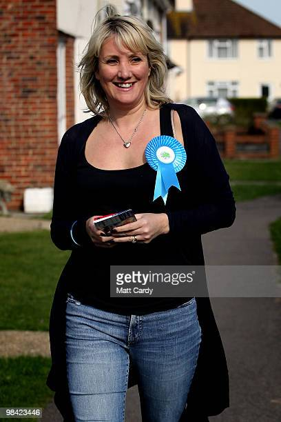 Conservative candidate Caroline Dinenage campaigns in the constituency of Gosport in Hampshire on April 10 2010 in Gosport England The 38yearold...