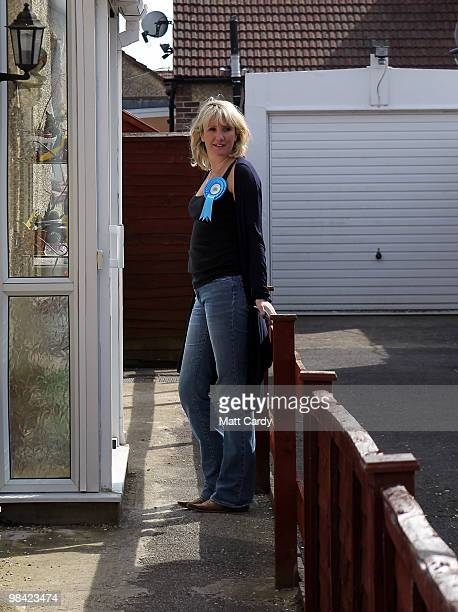 Conservative candidate Caroline Dinenage knocks on the door of a potential voter as she campaigns in the constituency of Gosport in Hampshire on...