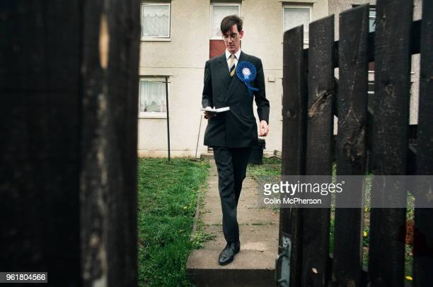 Conservative candidate Jacob Rees-Mogg canvasses support on a housing estate in Groban, Leven, part of the Labour-held constituency of Central Fife...