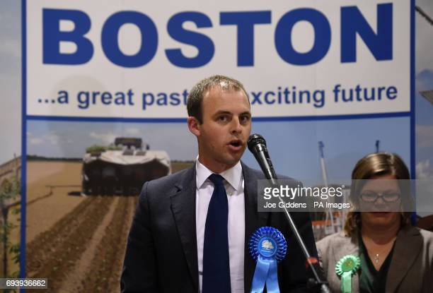 Conservative candidate Matt Warman speaks after winning the Boston and Skegness seat at the Peter Paine Performance Centre in Boston