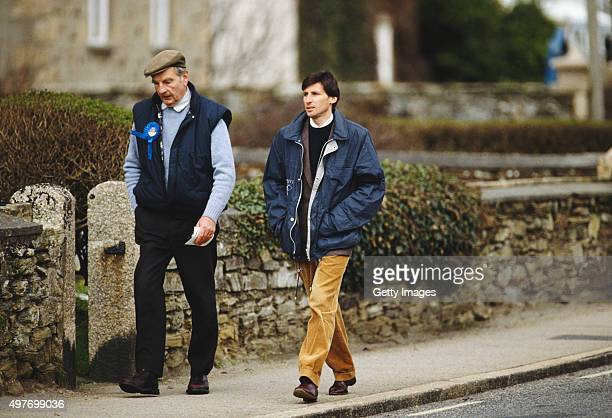 Conservative candidate Sebastian Coe out canvassing during his successful campaign to be Member of Parliament for Falmouth and Camborne in the 1992...