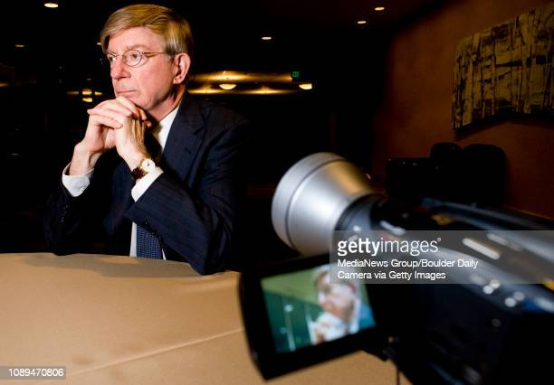 Conservative columnist George Will speaks with Daily Camera reporter at the Stadium Club at Folsom Field in Boulder, Thursday, Nov. 19, 2009.