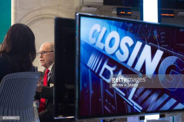 US conservative commentator and economic analyst Larry Kudlow speaks on the set of CNBC at the closing bell of the Dow Industrial Average at the New...