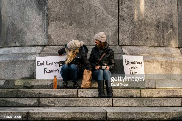 Conservative demonstrators gather at the Washington State Capitol on January 10, 2021 in Olympia, Washington. Gov. Jay Inslee authorized 750...