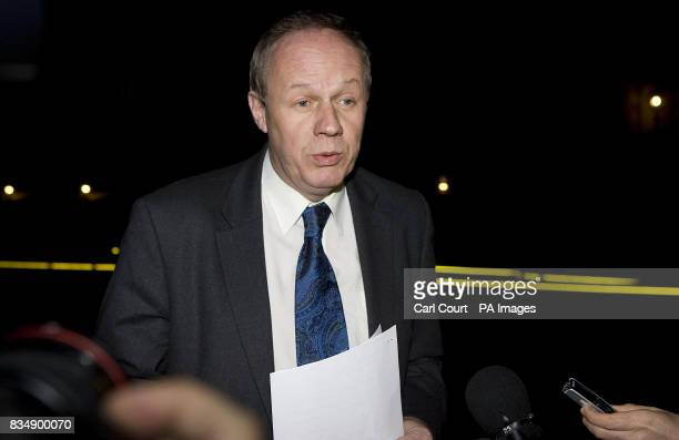Conservative immigration spokesman Damian Green MP for Ashford speaks to the media outside the House of Commons London after he was arrested at his...