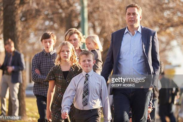 Conservative leader Andrew Scheer leaves a polling station with his family after voting in his home riding of ReginaQu'Appelle in Regina Saskatchewan...