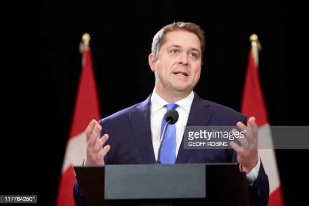 Conservative leader Andrew Scheer speaks at a press conference in Regina Saskatchewan October 22 2019 A weakened Prime Minister Justin Trudeau set...