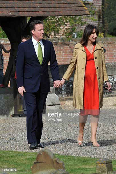 Conservative leader David Cameron and his wife Samantha arriving at his sister Clare's wedding on April 24 2010 at St Barnabas Church Peasemore West...