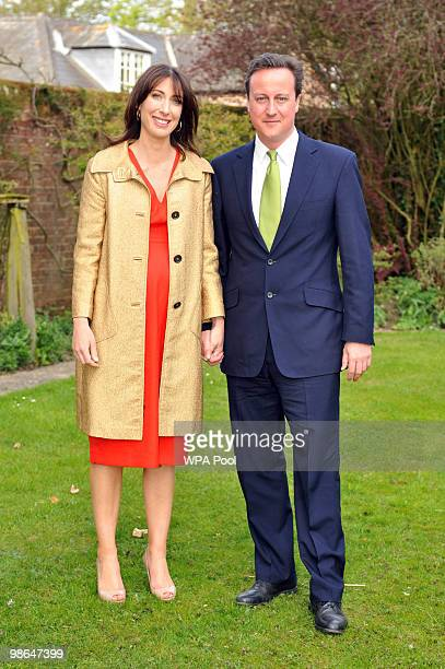 Conservative leader David Cameron and his wife Samantha at his sister Clare's wedding on April 24 2010 at St Barnabas Church Peasemore West Berkshire...