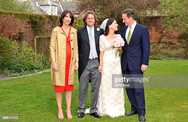 Conservative leader David Cameron and his wife Samantha with his sister Clare and her new husband Jeremy Fawcus on their wedding day on April 24 2010...