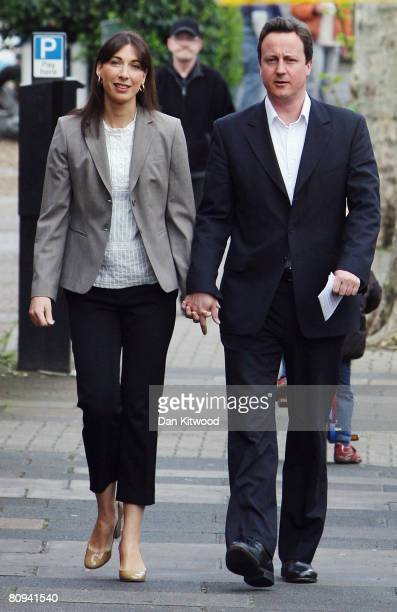 Conservative leader David Cameron and wife Samantha arrive at Oxford Gardens Primary School to cast their vote for London Mayor on May 1 2008 in...
