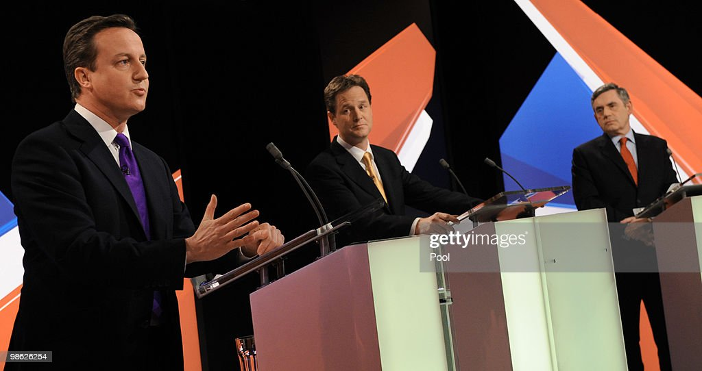 Conservative leader David Cameron, Lib Dem leader Nick Clegg and Prime Minister Gordon Brown take part in the second live televised election debate on April 15, 2010 in Bristol, United Kingdom. Britain for the first time is televising three political debates live, reminiscent of the U.S. style of debates. The second of the three planned election debates, focuses on global affairs, airing live on Sky News from 20:00 BST.