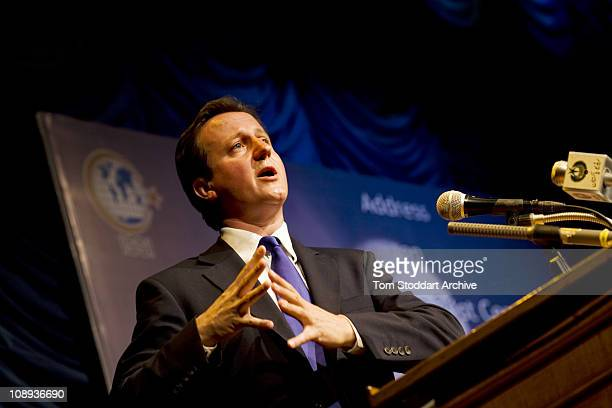 Conservative Leader David Cameron makes a foreign policy speech to Pakistan's Institute of Strategic Studies in Islamabad during a visit to Pakistan...