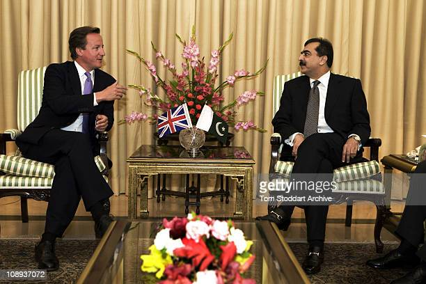 Conservative leader David Cameron now British Prime Minister photographed during talks with Pakistan's Prime Minister Yousuf Gilani in a 2008 visit...