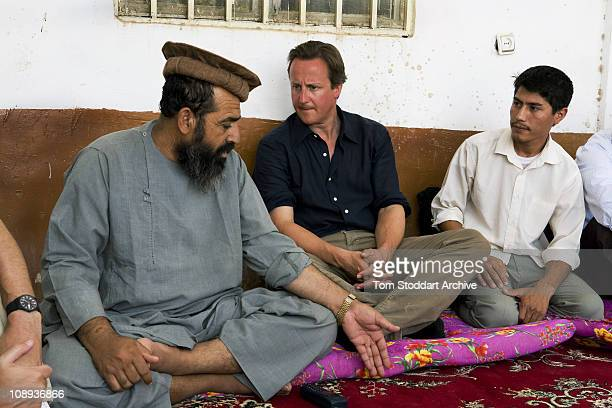 Conservative Leader David Cameron photographed before becoming Prime Minister during a visit to British troops serving in Afghanistan Sangin Helmand...