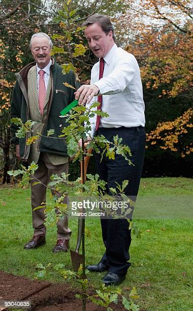 Conservative Leader David Cameron plants a 'heritage tree' watched by John SpencerChurchill 11th Duke of Marlborough in the grounds of Blenheim...