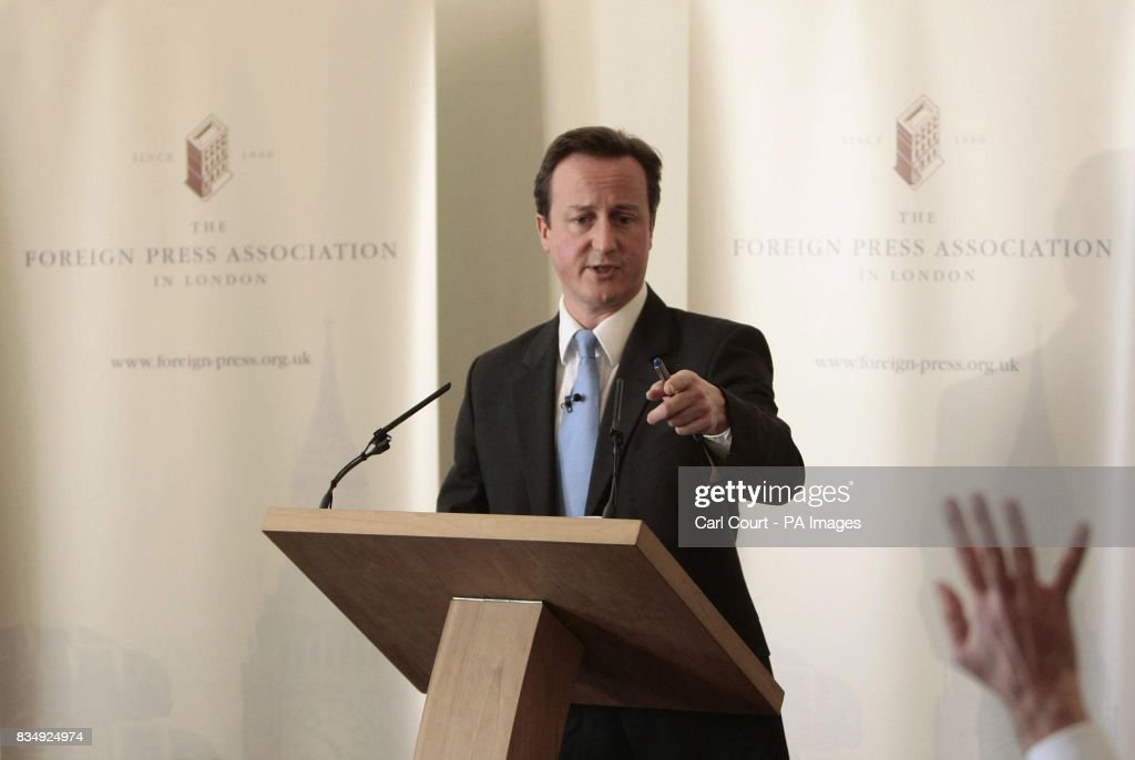 Conservative leader David Cameron takes a question after delivering a speech to mark the 60th anniversary of the United Nations Universal Declaration of Human Rights at the Foreign Press Association building in central London.