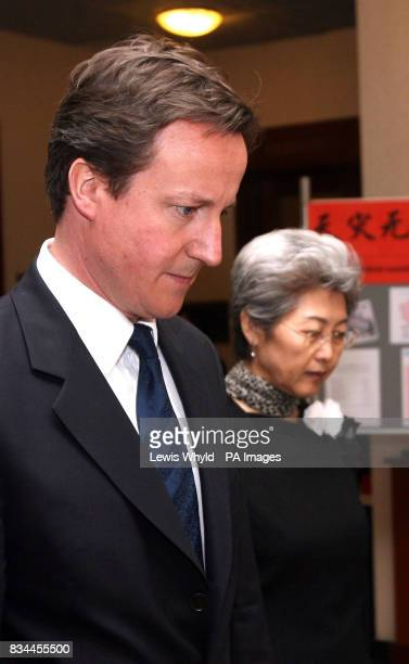 Conservative leader David Cameron with Chinese ambassador Fu Ying at the Chinese Embassy in London to pay respects to those who died in the Sichuan...