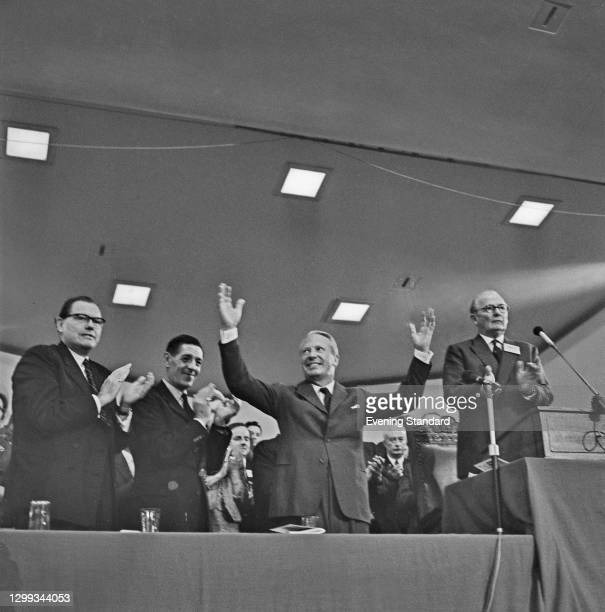 Conservative leader Edward Heath during the Conservative Party Conference in Blackpool, UK, October 1966. From left to right, Reginald Maudling,...