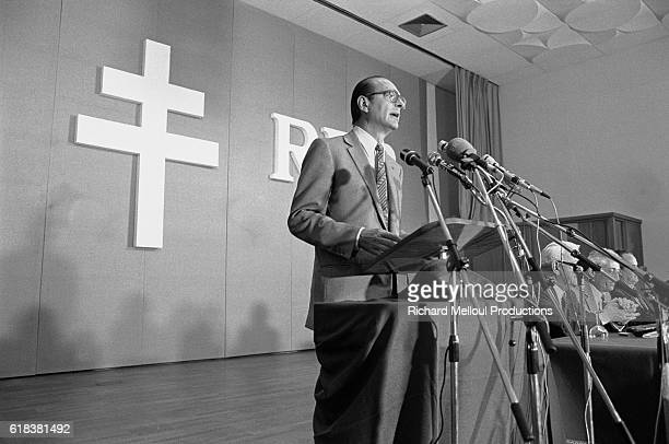 Conservative leader Jacques Chirac speaks at a Rassemblement pour la Republique political party meeting in Strasbourg