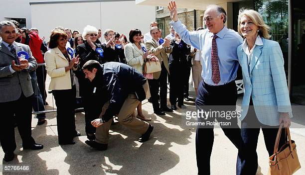 Conservative Leader Michael Howard and wife Sandra leave after addressing the media following his party's general election defeat, May 6, 2005 at the...