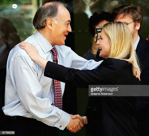 Conservative Leader Michael Howard congratulates Justine Greening who captured Putney for the Conservative Party before addresses the media following...