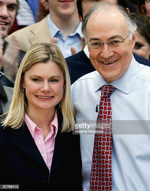 Conservative Leader Michael Howard congratulates Justine Greening, who captured Putney for the Conservative Party, before addressing the media...