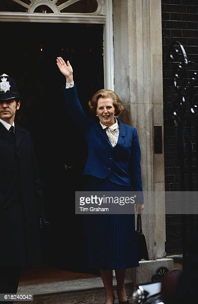 Conservative leader Mrs Margaret Thatcher waves on arrival at 10 Downing Street after election Political leader Politician Achievement First Woman PM
