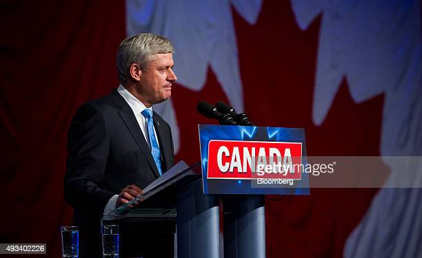 Conservative Leader Stephen Harper Canada's prime minister attends a news conference where he conceded victory on election day in Calgary Alberta...