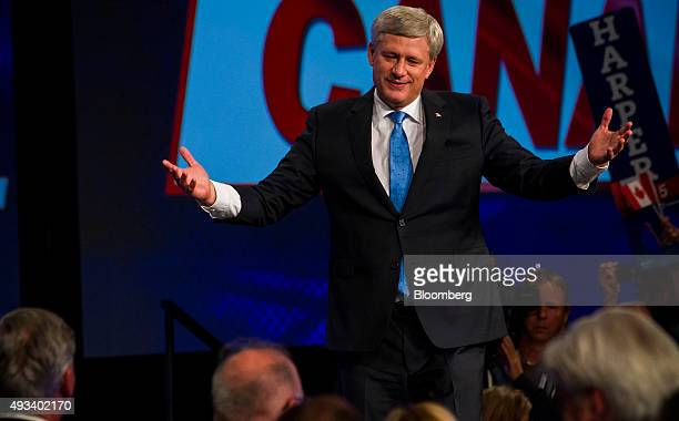 Conservative Leader Stephen Harper Canada's prime minister gestures as he speaks during a news conference where he conceded victory on election day...