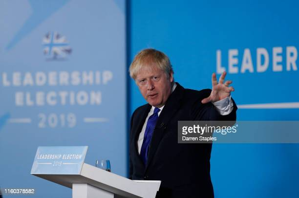 Conservative leadership candidate Boris Johnson addresses an audience of party members as he takes part in a Conservative Party leadership hustings...