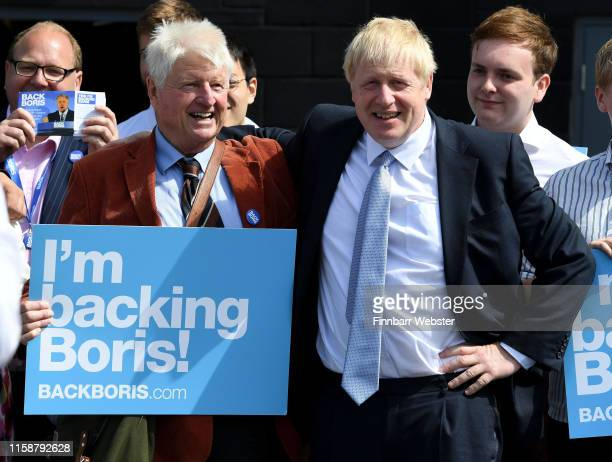 Conservative leadership candidate Boris Johnson arrives to be met by his father Stanley Johnson at Sandy Park Conference Centre on June 28, 2019 in...