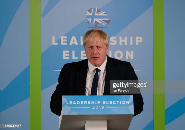 Conservative leadership candidate Boris Johnson speaks as he takes part in a Conservative Party leadership hustings event at Carlisle Racecourse on...
