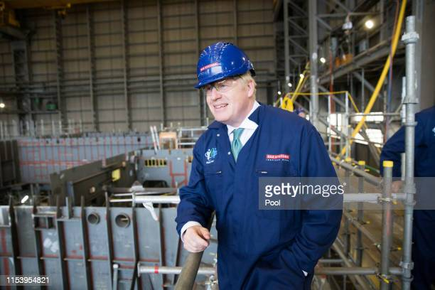 Conservative leadership candidate Boris Johnson visits BAE Systems in Govan as he campaigns in Glasgow ahead of the Perth Hustings on July 5, 2019 in...