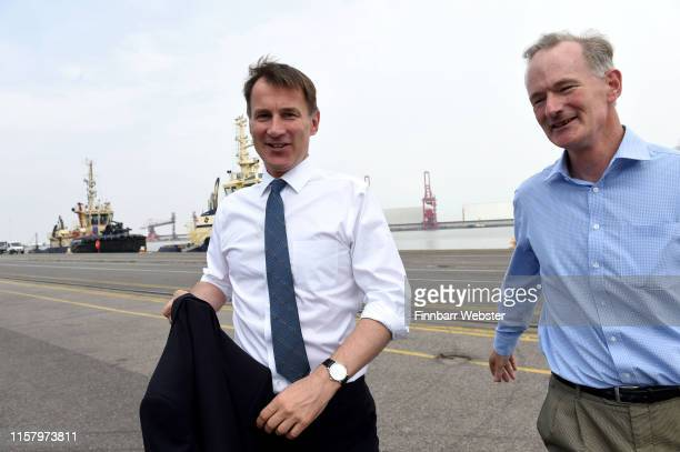 Conservative leadership candidate Foreign Secretary Jeremy Hunt makes a campaign visit to Royal Portbury Dock on June 24 2019 in Bristol England...