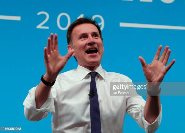 Conservative leadership candidate Foreign Secretary Jeremy Hunt speaks to an audience of party members as he takes part in a Conservative Party...
