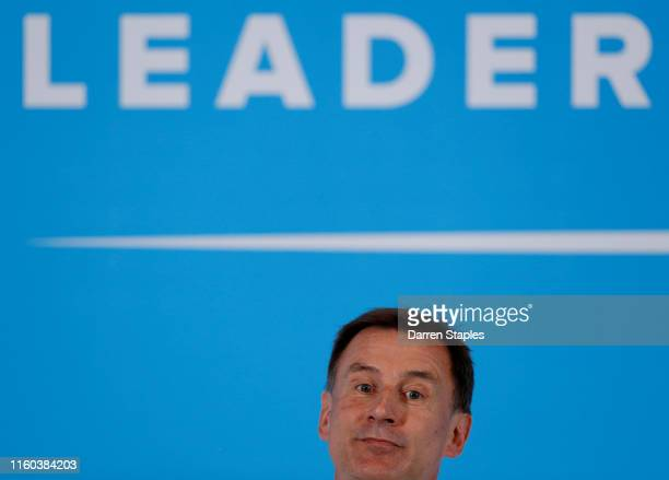 Conservative leadership candidate Jeremy Hunt addresses an audience of party members as he takes part in a Conservative Party leadership hustings...