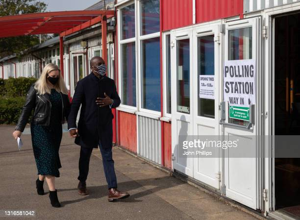 Conservative London mayor candidate Shaun Bailey and wife Ellie Bailey arrive at Drapers' Pyrgo Priory School polling station to cast their votes in...