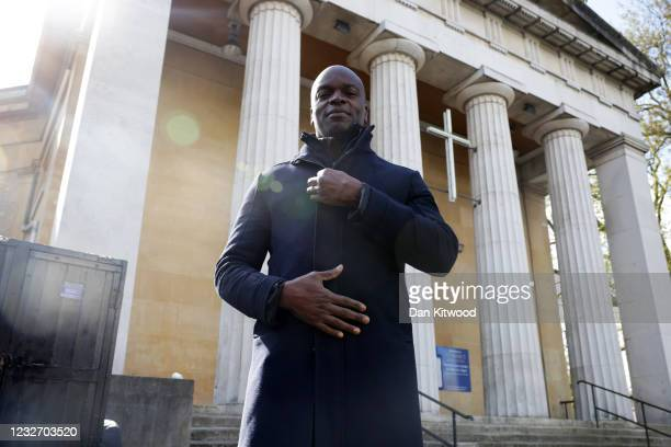 Conservative London Mayor candidate Shaun Bailey poses for a photo as he speaks to the media outside St Mark's Church during the final day of...
