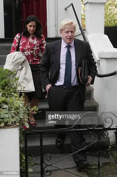 Conservative Mayoral candidate Boris Johnson and wife Marina Wheeler leave home on May 2 2008 in London England The next Mayor of London will be...