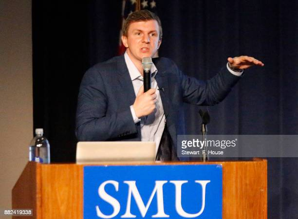 Conservative media activist James O'Keefe speaks at an event hosted by the Southern Methodist University chapter of Young Americans for Freedom, a...