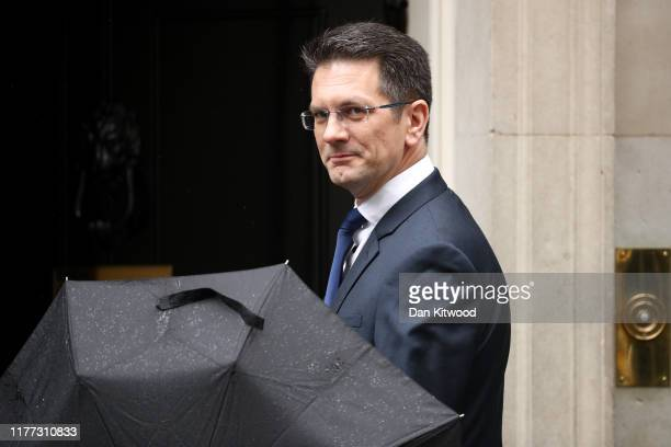 Conservative MP and Chairman of the European Research Group Steve Baker arrives at 10 Downing Street on October 21, 2019 in London, England. Prime...