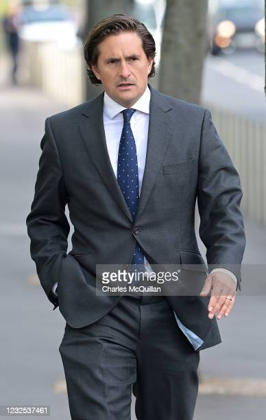 Conservative MP and former defence minister Johnny Mercer arrives outside Laganside court as the trial begins of two former British paratroopers...