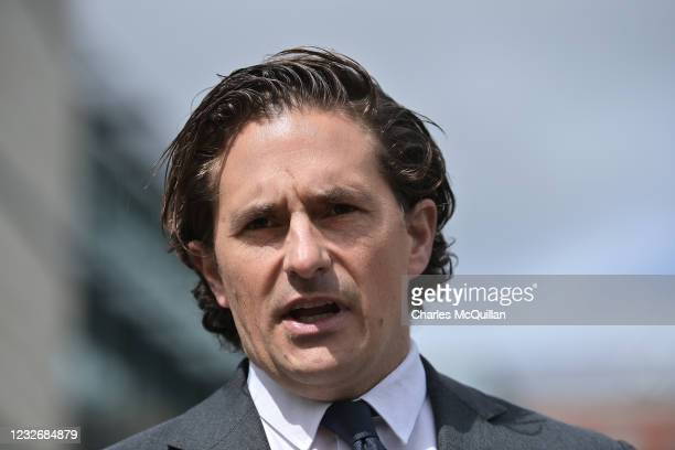 Conservative MP and former defence minister Johnny Mercer speaks to the media as the trial of two Northern Ireland serving paratrooper veterans...