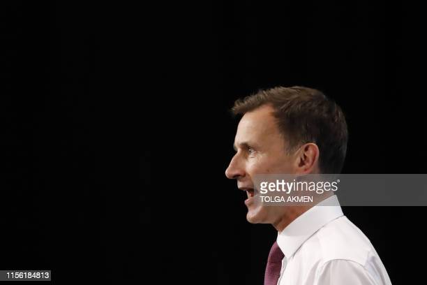 Conservative MP and leadership contender Jeremy Hunt addresses the final Conservative Party leadership election hustings in London, on July 17, 2019....